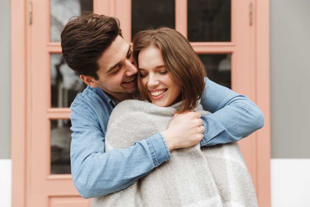 Photo,Of,Happy,Couple,In,Love,Standing,Outside,And,Man